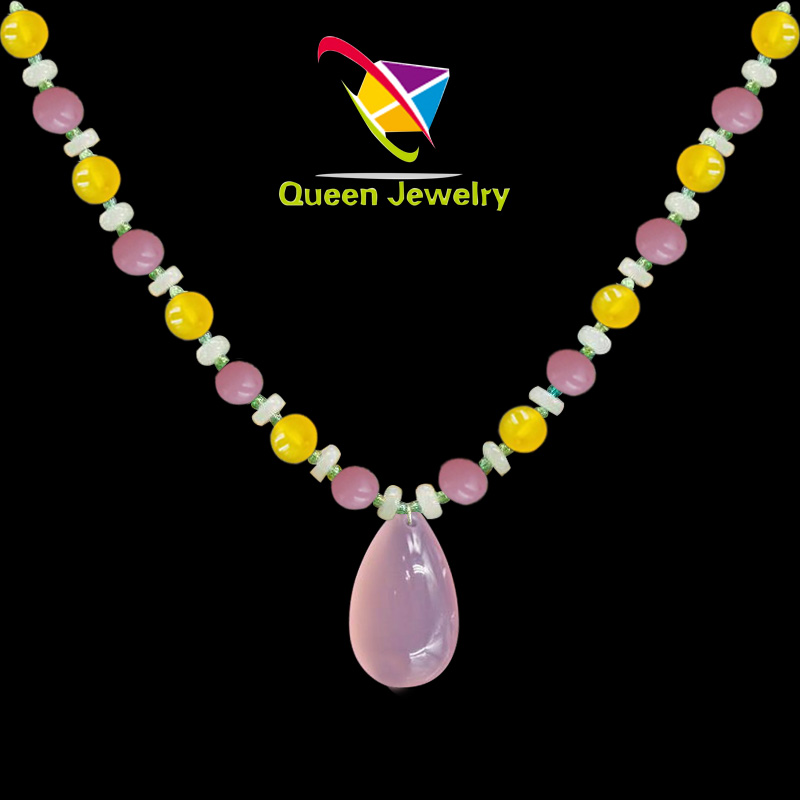 healing gemstone jewelry Natural high-quality Rose Quartz Beads Strand Necklace pendant for Women