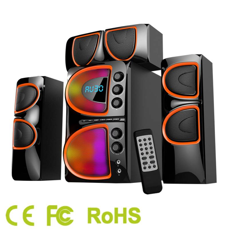 Home theater system 2.1 to 5.1 channels with USB, SD, Bluetooth full functions