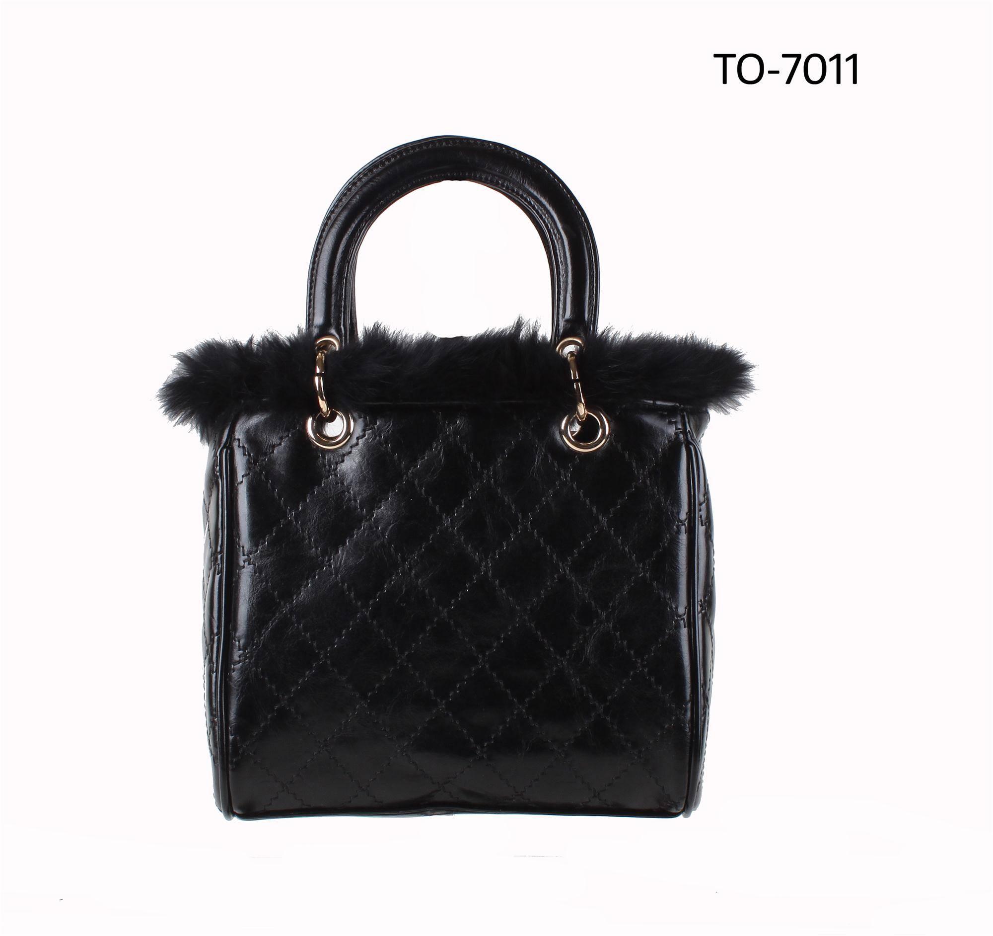 New Arrival Winter Style lady beautiful PU handle bag tote Fur Handbag