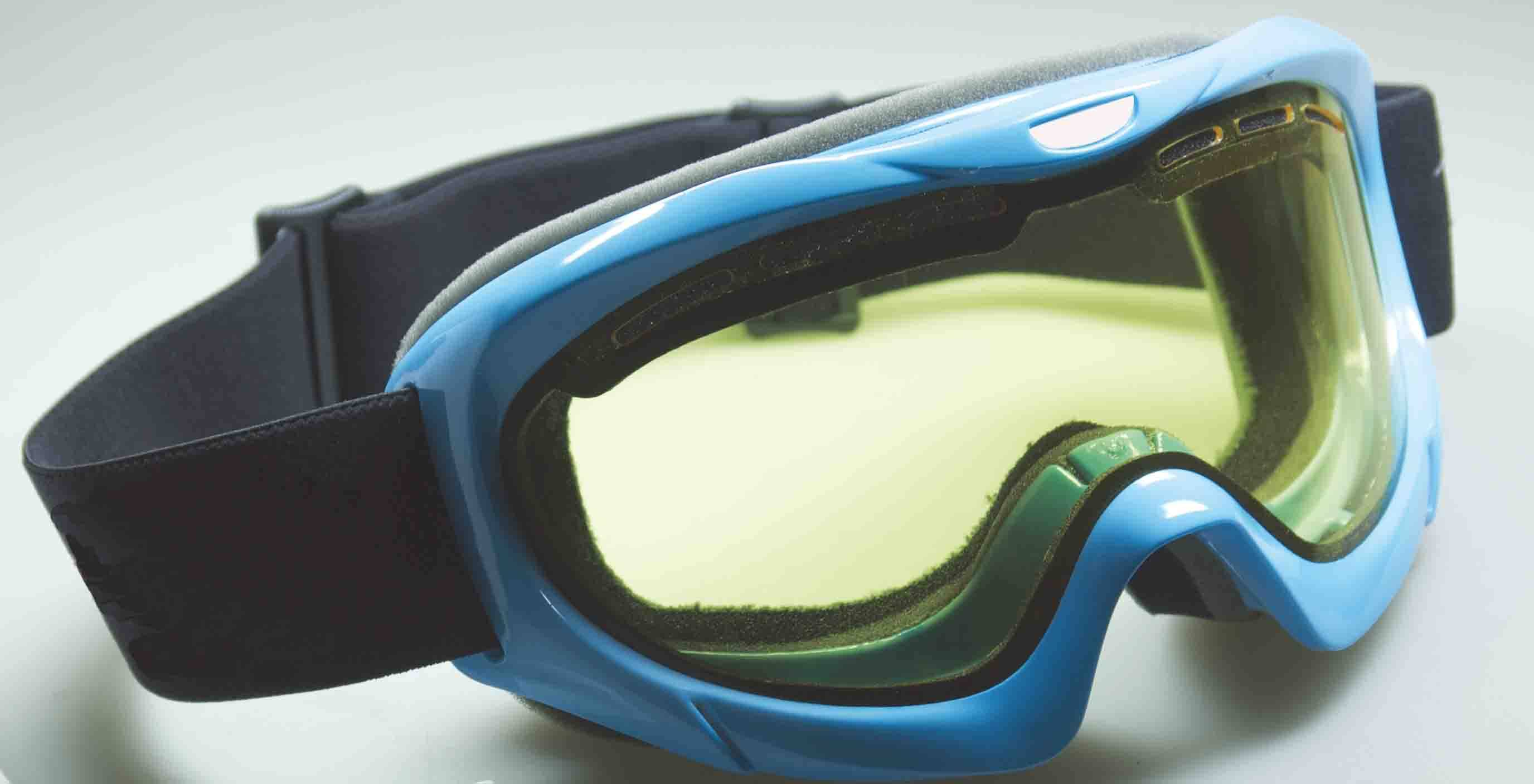 Sports ski goggle with cylindrical double lenses