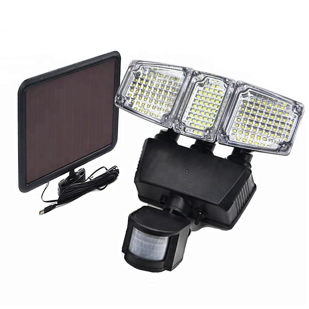 Solar Powered Motion Light Triple Head 182 LED with 900 Lumens Output 180 Degrees Waterproof Outdoor