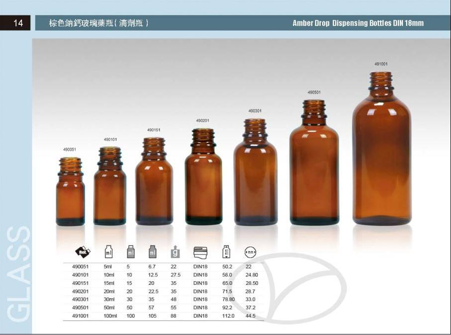 Amber glass bottle for essential oil