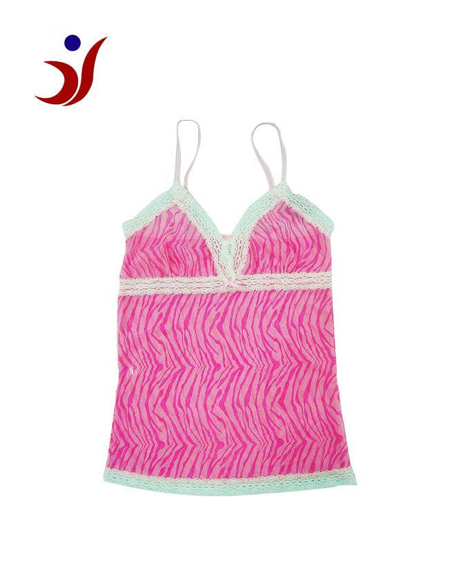 women lace camisole with panty of leopard printing