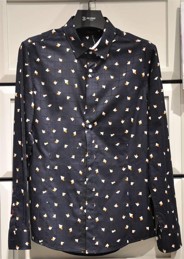 2016 BENBO New Design Casual Long Sleeve Shirt for Men High Quality Black