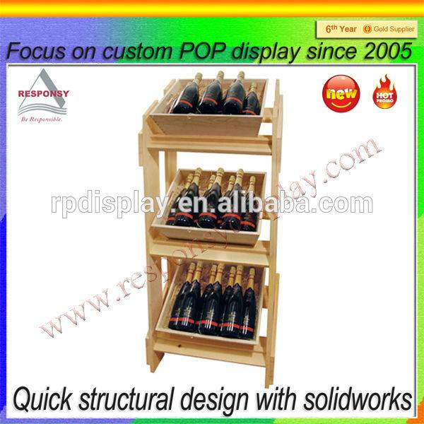 Wooden retail wine display stand