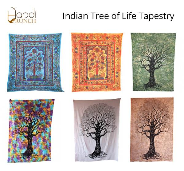 Handicrunch | Indian Multi Color Tree Of Life Tapestry Wall Hanging