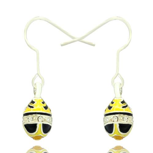 hand enameled crystal paved Faberge egg earring for Easter Day