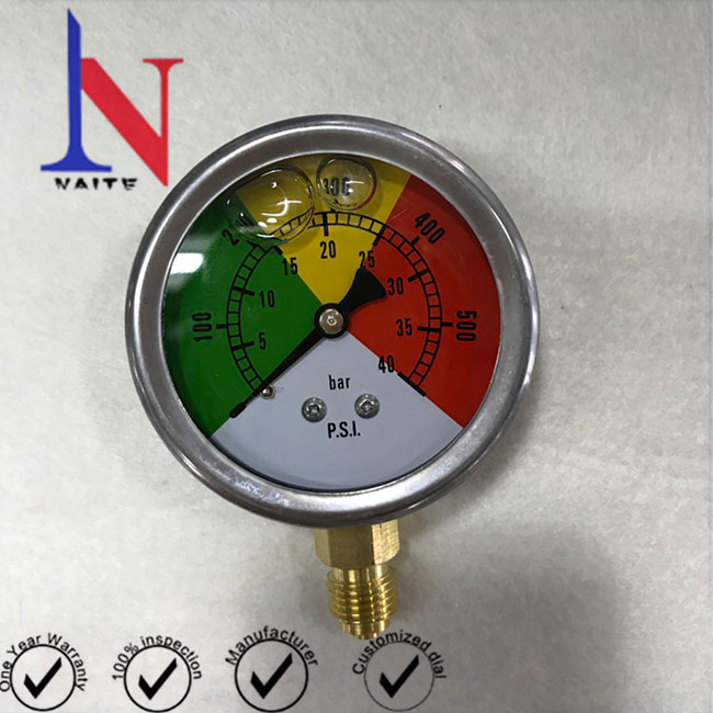 63mm colourful dial bottom connection pressure gauge