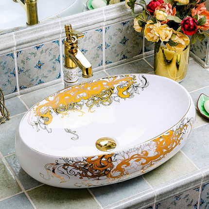 High quality golden lavabo art counter washing bathroom sink