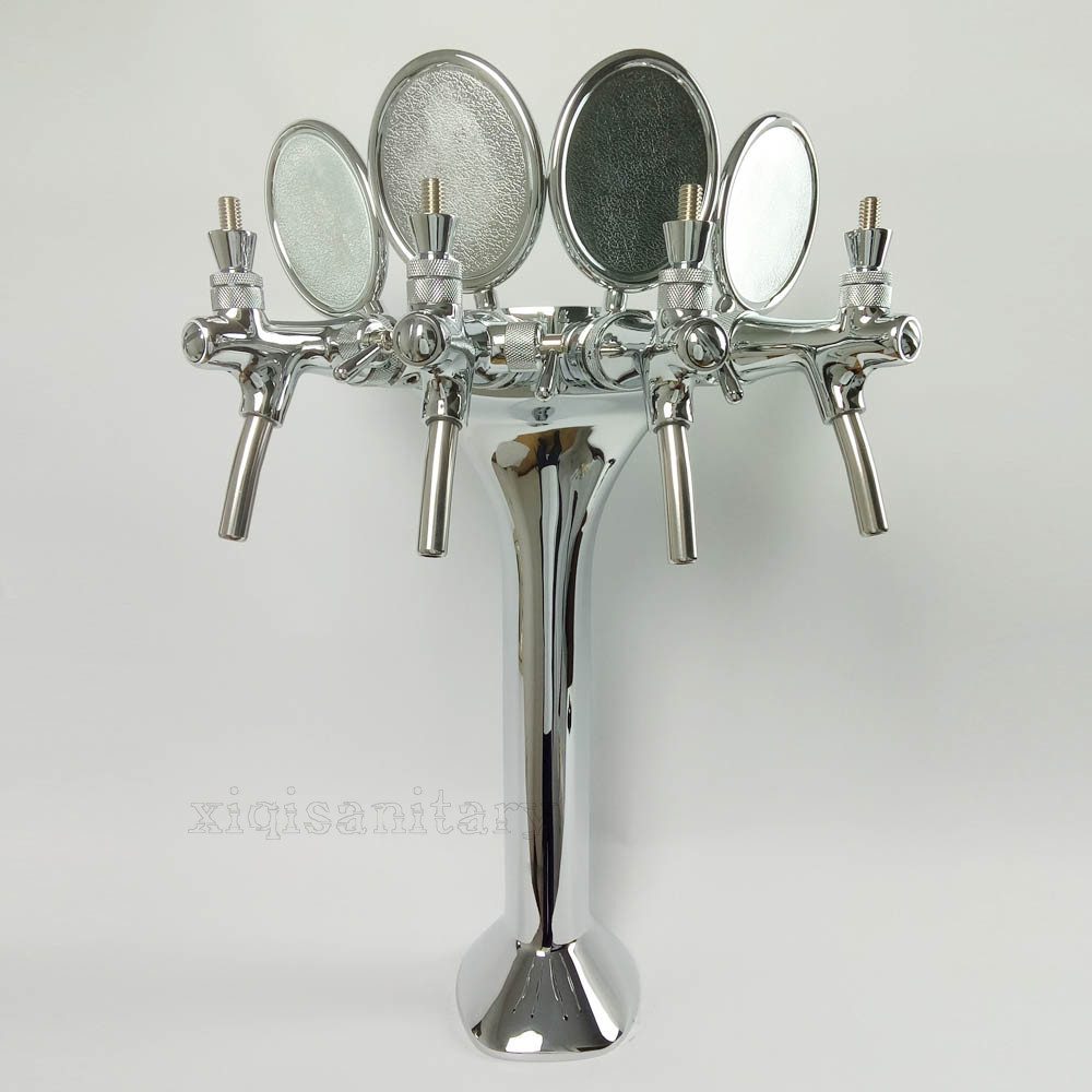 four way brass chrome plated cobra beer tower
