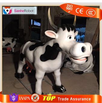Amusement park Vivid animal statue 5m animals fiberglass cow sculpture