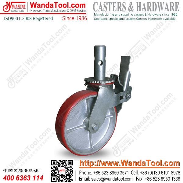 8 In. Standard Scaffolding Caster with Moldon PU wheel
