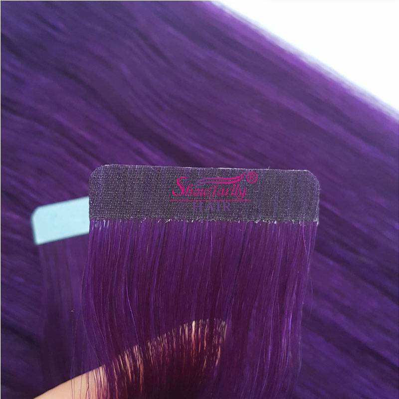 PU weft hair extensions purple