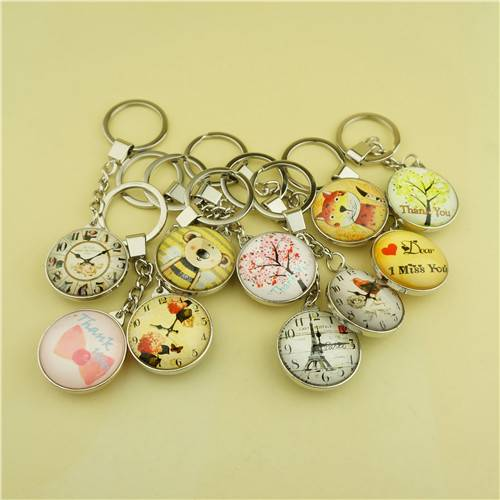Zinc Alloy Keychain with Single Side Custom Printing Dome Crystal