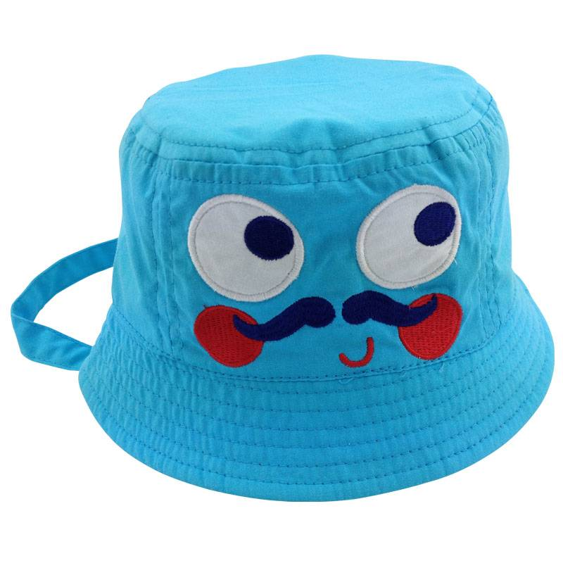 Cute applique embroidery face kids blue bucket hat with string Custom  inside plaid lining bucket hat 80d3883a872
