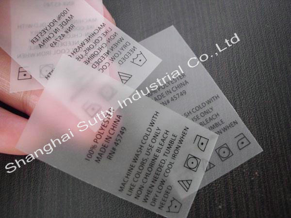 Custom TPU printed labels for clothing, white background with logo printing as design
