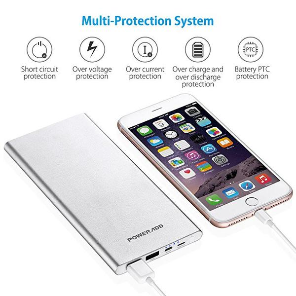 Poweradd Pilot 4G Power Bank Silver Portable Charger For iPhone / iPad