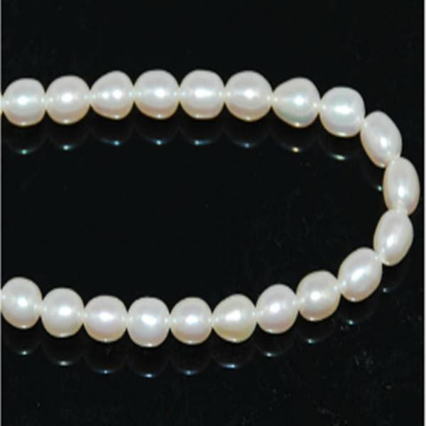 16 inches 5-6mm White Rice Shaped Freshwater Pearls Loose Strand