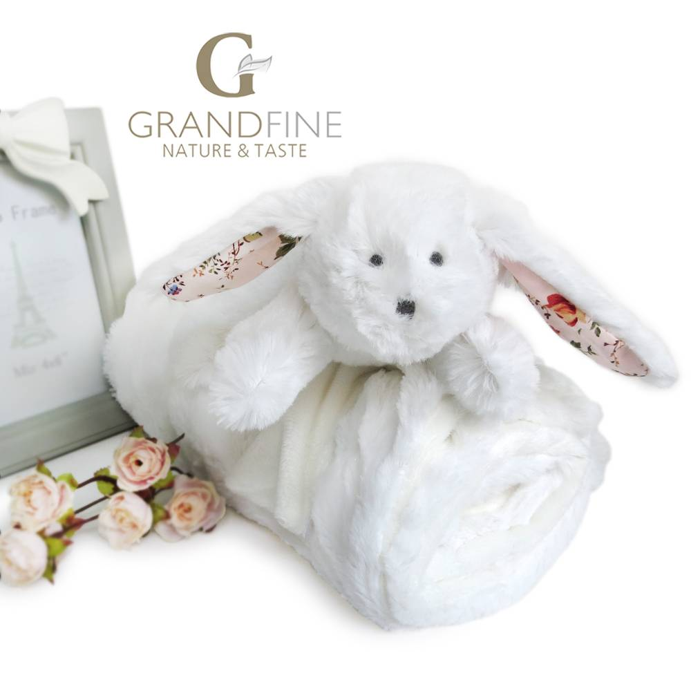 White rabbit newborn baby plush blanket american baby doll with EN71 test report and CE mark and Rea