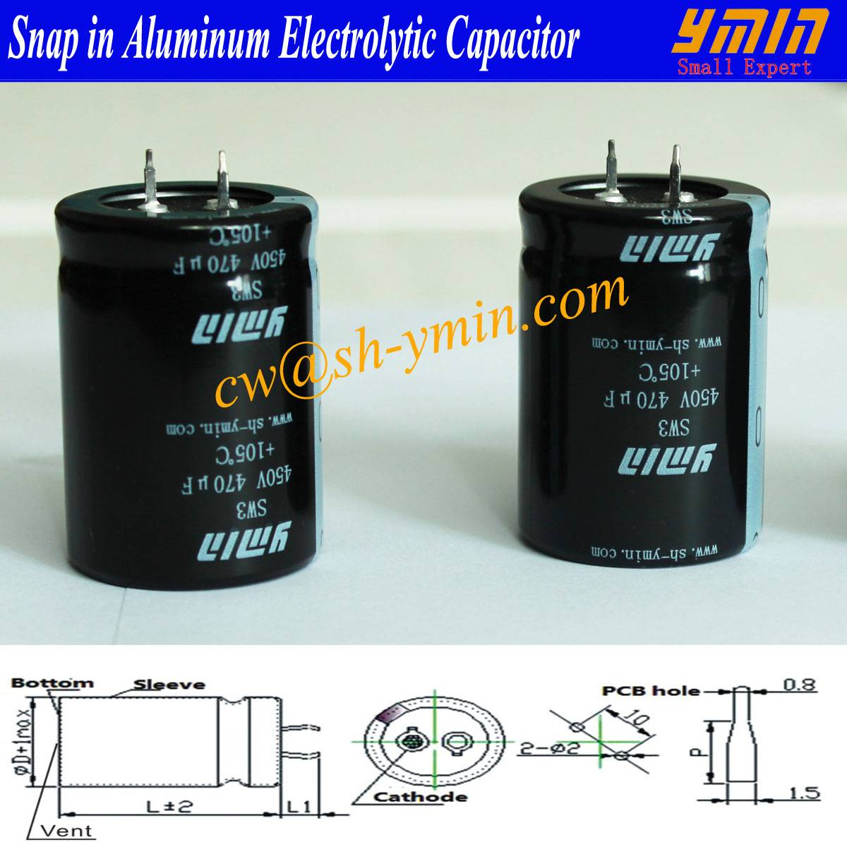 Long Life Capacitor Snap in Electrolytic Capacitor for Wave Inverter and Welding Machines
