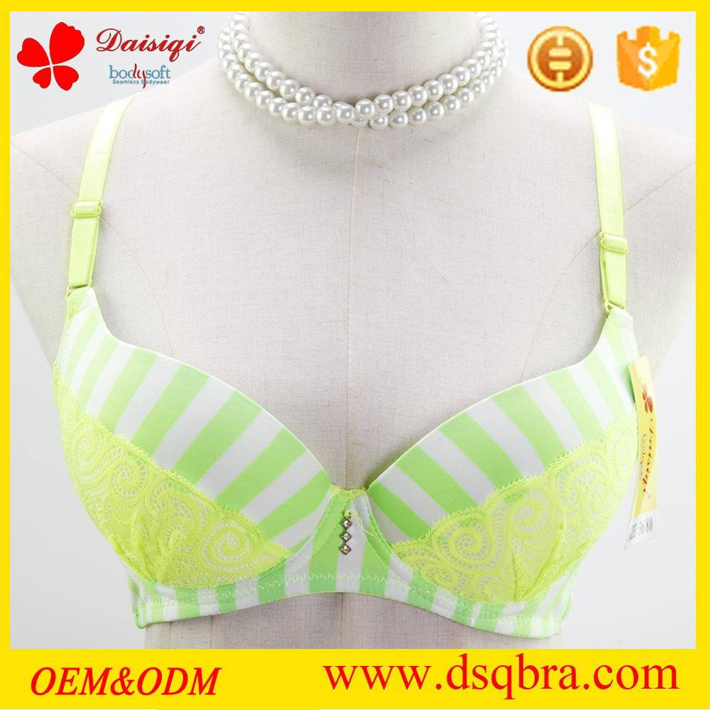 Nylon sexy fancy lace underwear with stripe design sweet girls bra with various colors