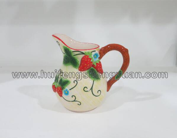 100% handpained embossed strawberry ceramic pitcher