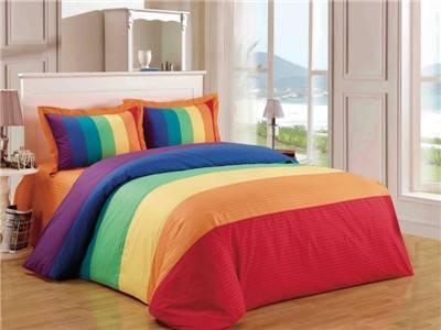 Rainbow energetic 4pcs bedding set duvet cover flat sheet pillowcase