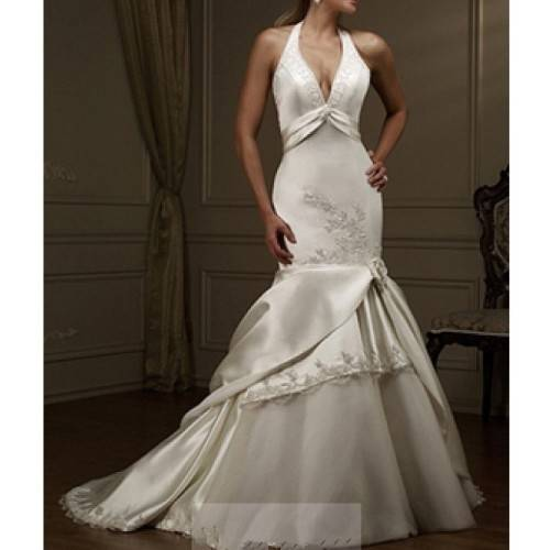 ELEGANT MERMAID SATIN HALTER EMBELLISHMENT WITH LACE CHAPEL TRAIN WEDDING DRESS IN GREAT HANDWORK W1