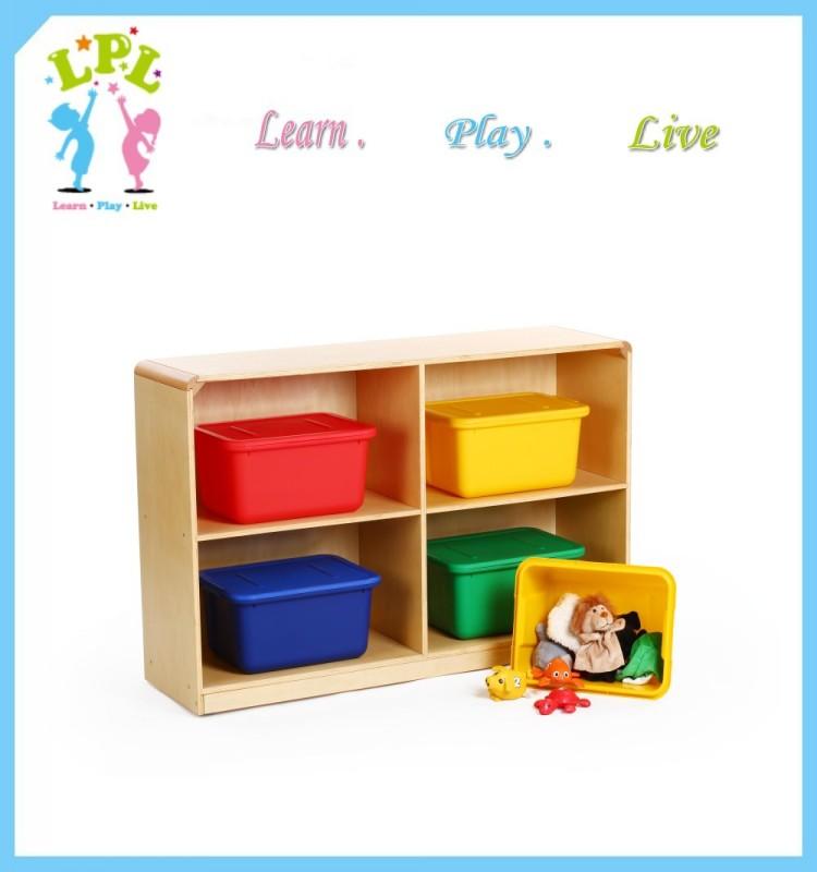 OEM Eco friendly wood cabinet kid toy 4 big cubby storage shelf