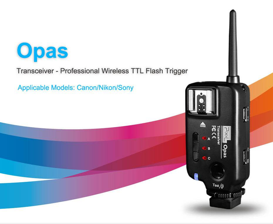 Pixel Opas wireless flash transciever for Canon, support shutter release flash trigger group control