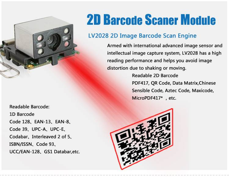 LV2028 Integrated OEM Scanner Portable Module as USB Gadgets