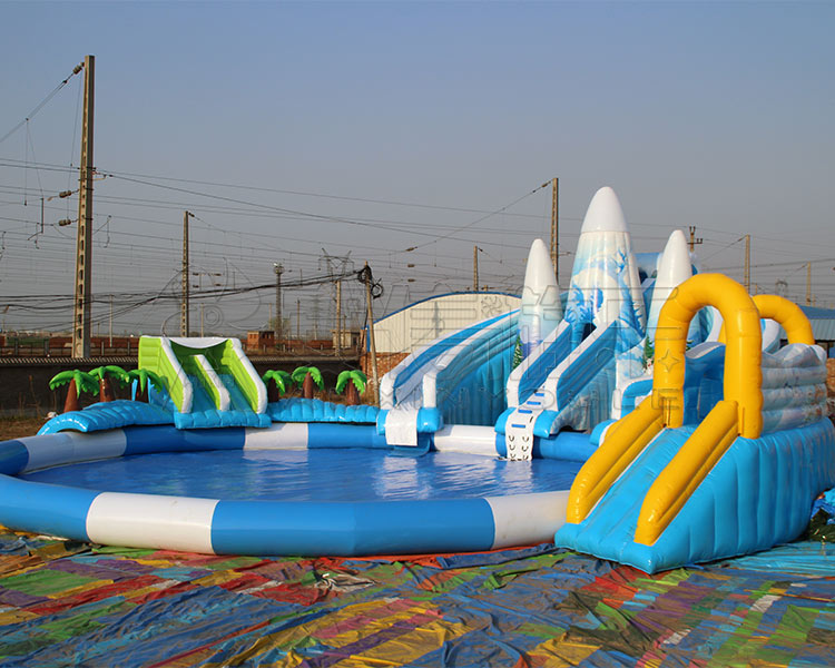 PVC tarpaulin material Inflatable iceberg park, water park with inflatable pool and inflatable slip