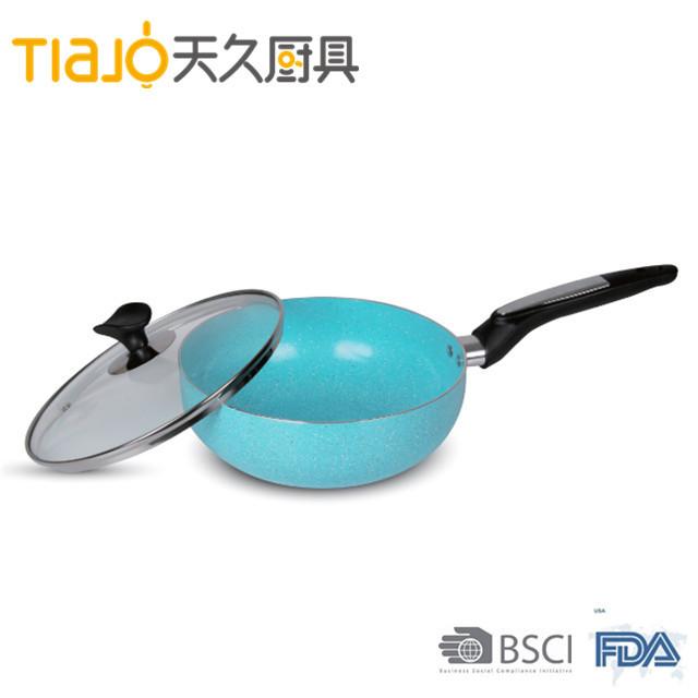 2017 new design aluminium ceramic marble coating wokpan with glass lid