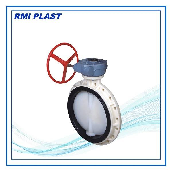 PVC butterfly valve gear operated, DIN PN10, ANS CL150, JIS10K