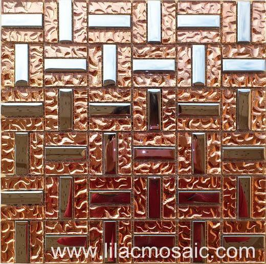 Pink Color Glass Mosaic Tile for Interior Wall Decoration