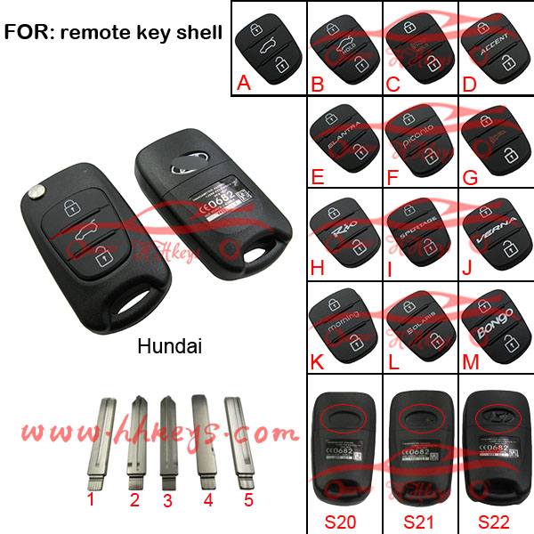 Different types flip remote car key shell Hundai 3buttons