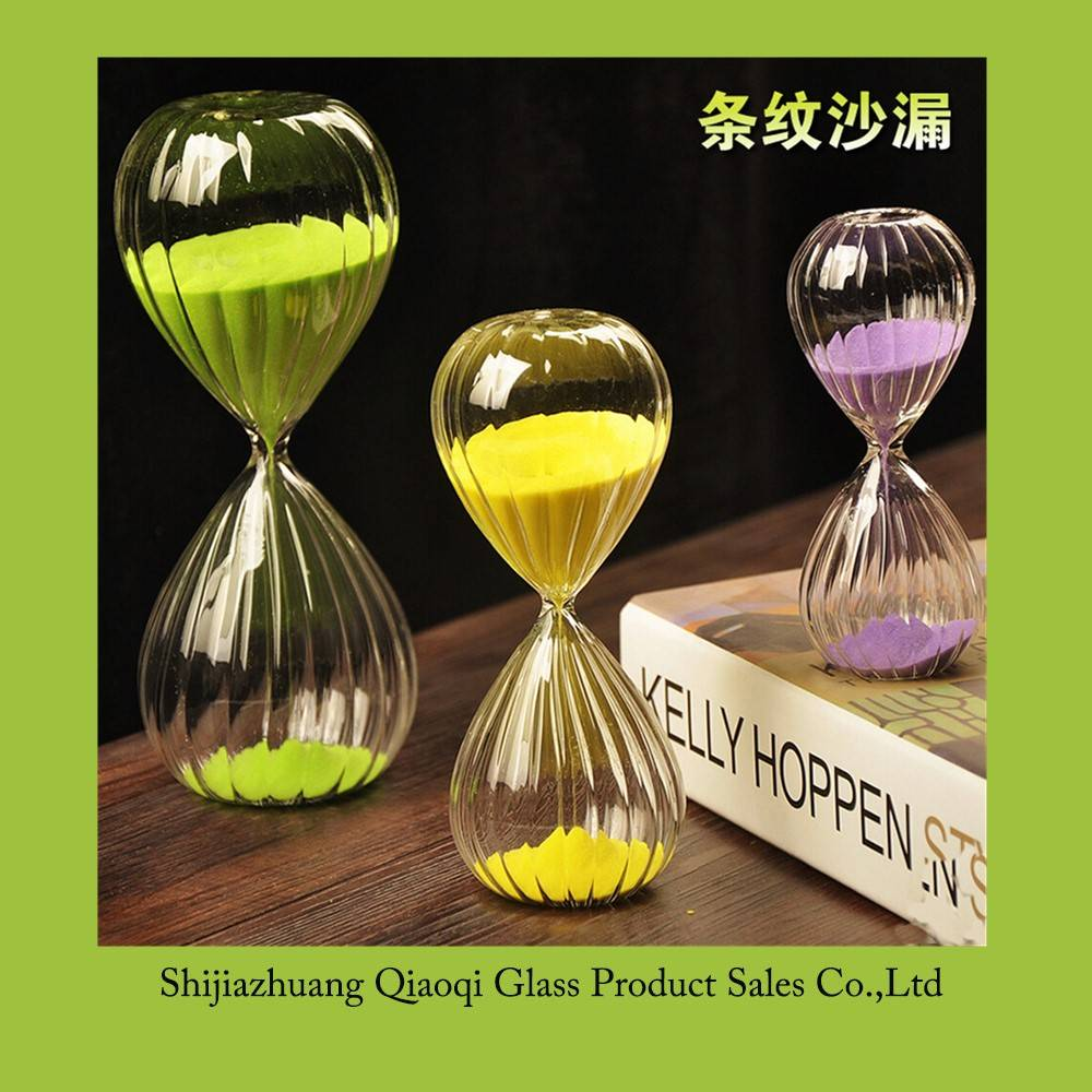2016 hot sale vertical stripe hourglass for timing / sand clock / sand glass