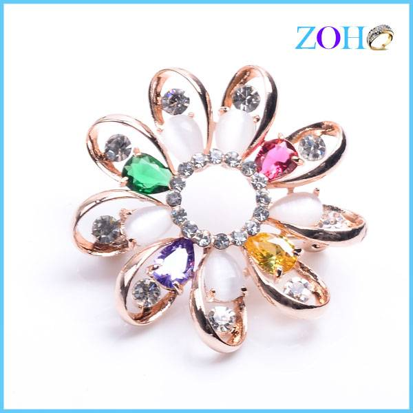 2016 new arrival alloy western style colorful flower brooches jewelry charming pins