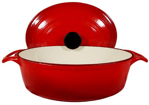 Enamel Cast Iron Red Oval Dutch Oven 3 3/4-Qt.