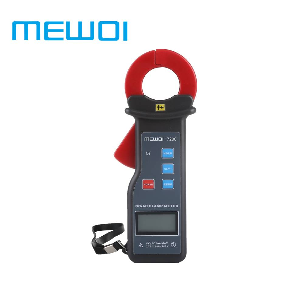 MEWOI7200-25mm×30mm,AC/DC 0mA~60A High accuracy Leakage Current Clamp meter