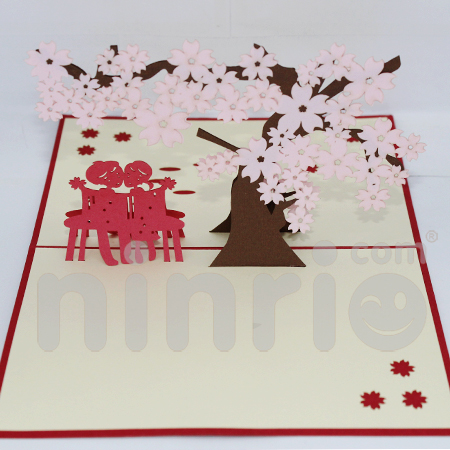 Wedding cherry Pop Up Card Handmade Greeting Card