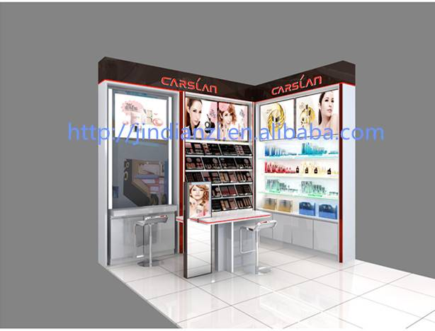 professional makeup station,cosmetic display stand with LED and mirror