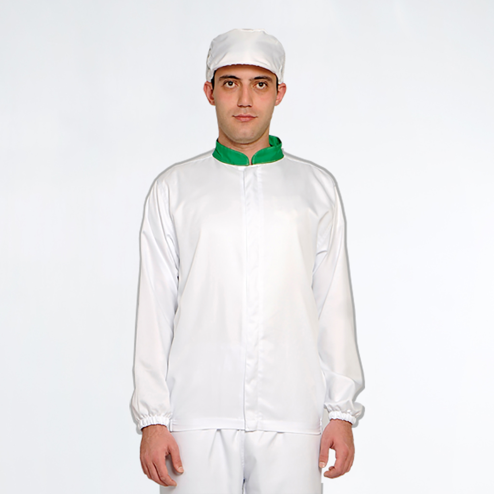 White 100% Modified Polyester Beverage Processing Plant Clothing