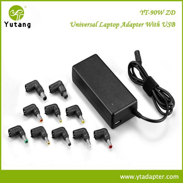 90W univerersal auto adapter for laptop and with universal usb charger