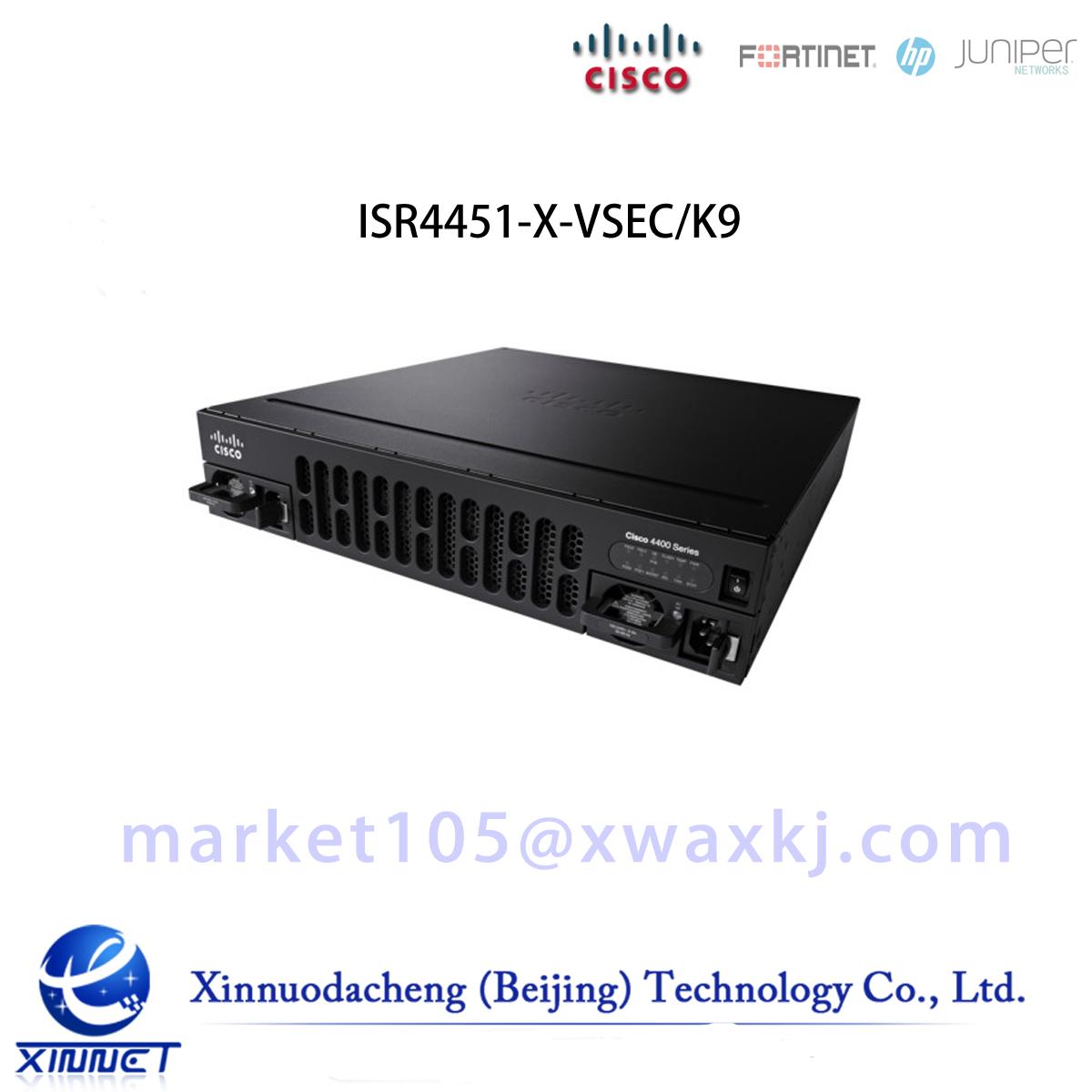 ISR4451-X-VSEC/K9 Cisco ISR 4451 VSEC Bundle, PVDM4-64 w/ UC,SEC Lic,CUBE- 25