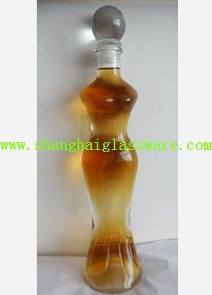 750ml wine glass bottle with cork lady shape special design
