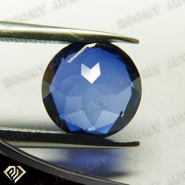 7mm round natural bottom synthetic AAA blue sapphire corundum
