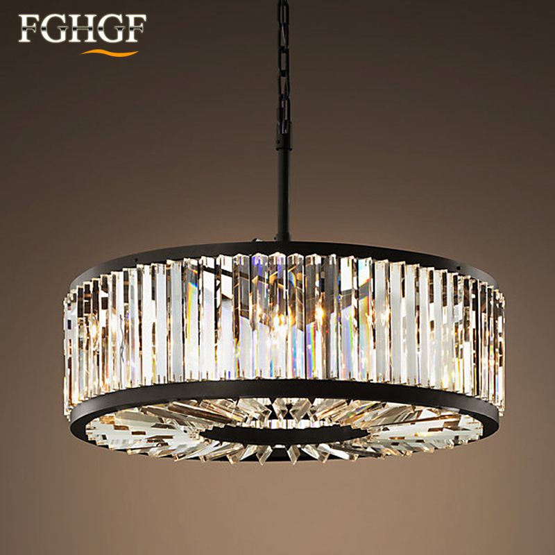 Modern Crystal Chandelier Light Creative Hollow Round Chandelier Lamp Circle Fixture Vintage Style L