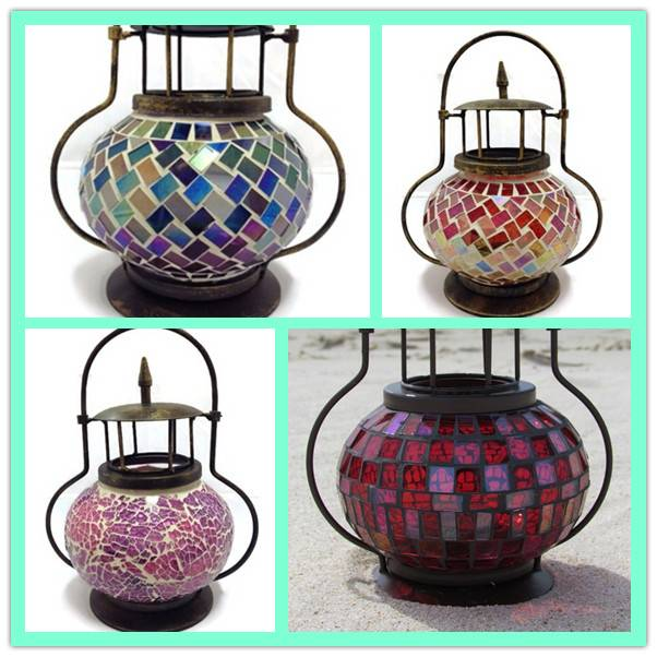 Vintage Handmade Decorative Glass Mosaic Hanging Glass Lantern