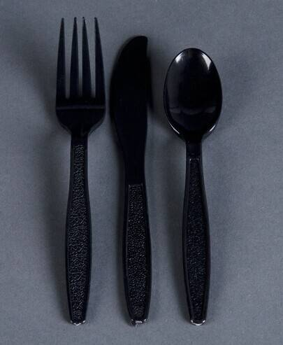 disposable plastic spoon fork knife three cutlery include knife,fork, spoon